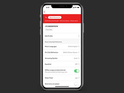 Wynk App Settings Screen Redesign Concept settings ui wynk design iphone x ui sketch