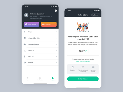 Loan App Refer Earn UI my account referral refer and earn design iphone x ui sketch