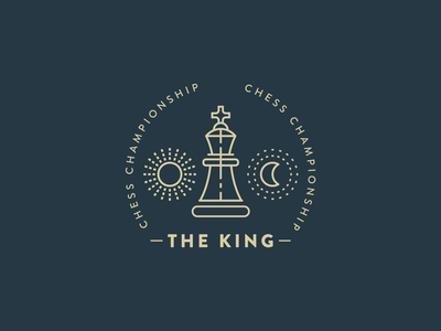 King Chess moon sun king line logo chess badge logo