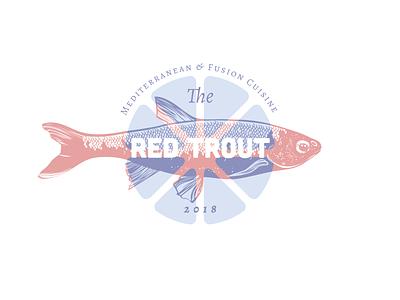 The Red Trout overprint trout restaurant logo restaurant fish retro vintage illustration logo