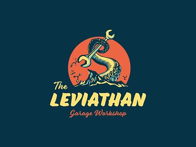Leviathan Workshop animal vintage logo vintage adobe adobe illustrator vector wrench garage workshop octopus tentacle comic books kraken pulp fifties badge illustration logo