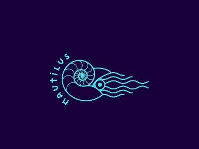 Nautilus Shell logo nature logo fibonacci blue logo marine nautilus shell line logo adobe adobe illustrator vector logo
