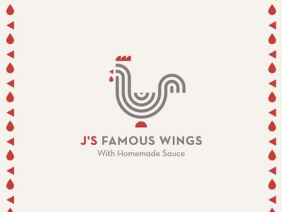 J's Famous Wings eatery bird restaurant logo chicken animal geometric minimalist adobe adobe illustrator vector logo