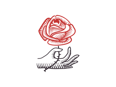 Hand and Rose logo engraving flower logo flower rose line art logo tattoo vintage branding adobe illustrator adobe vector logo