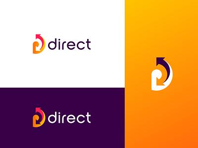Direct logo arrow logo arrows orange logo letter d logo design minimalist adobe illustrator adobe vector logo
