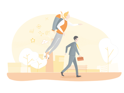 Jetpack man - Marketing illustration technology business urban growth marketing jetpack city illustration adobe adobe illustrator vector