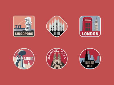 City Travel Stickers travelling travel cityscape city illustration landmark tourism city illustration adobe adobe illustrator vector