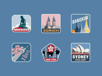 City Travel Stickers frankfurt barcelona madrid london milan singapore travelling travel cityscape city illustration landmark tourism city illustration adobe adobe illustrator vector