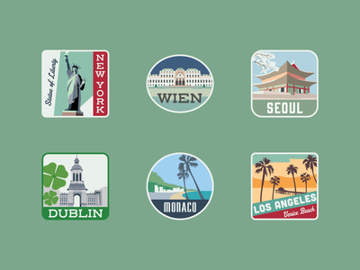 Travel Stickers wien los angeles monaco dublin seoul ny new york new york city travel tourism city vintage illustration adobe adobe illustrator vector