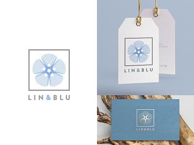 Lin & Blu logo and brand geometric flower minimalist vector logo