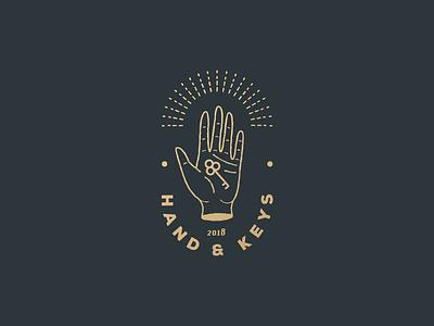 Hand And Key logo key real estate hand badge vintage line art logo logo vector