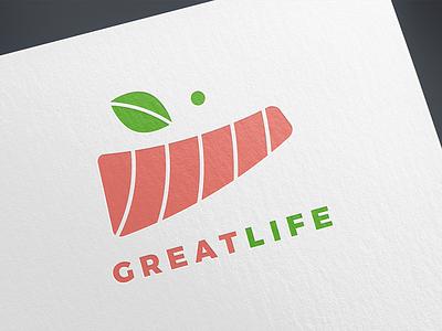 Great Life salmon restaurant smile food illustration branding vector