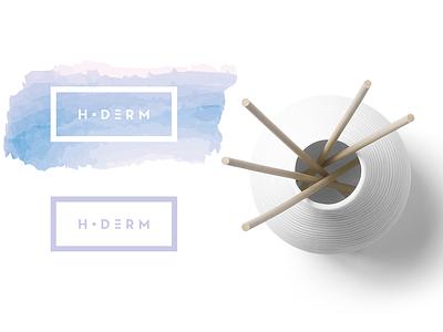 H Derm watercolor beauty product skin care dermatology minimal typographic minimalist logo