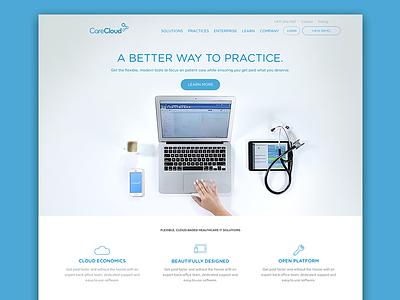All new CareCloud.com website homepage web healthcare sketch brand blue cloud
