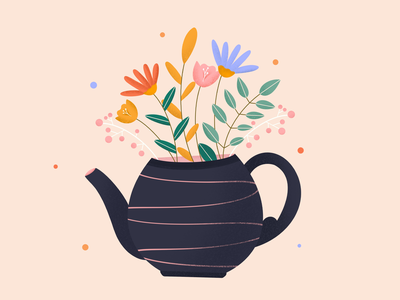 Spring in a tea pot tea floral product page design art procreate illustration debut shot illustrator graphics relaxing spa floral pattern floral design florals spring festival springfield spring design illustrations vector