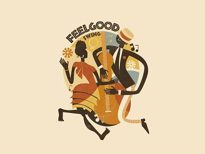 Feel Good Swing lindy hop retro jazz vintage swing illustration