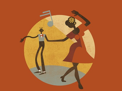 Feel Good Swing - Lindy Hop Illustration lindy hop retro jazz vintage swing illustration