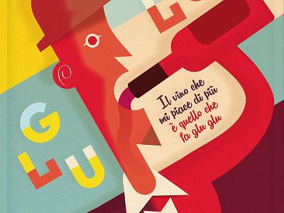 Glu Glu Wine typography colors illustration retro futurism vintage wine