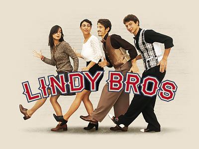 Lindy Bros retro typography logo swing lindy hop vintage