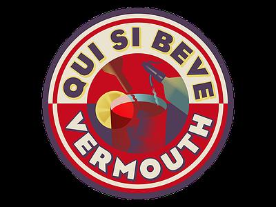 Vermouth sticker vector futurism retro vermouth wine vintage illustration
