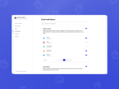 Multi-level email notifications ux design pattern hierarchy toggles reports configuration settings email product design notification center notification