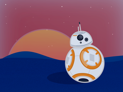 BB8 Jakku Sunset droid illustrator jakku illustration sunset star wars bb8