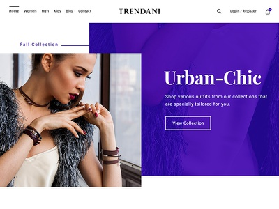 Trendani home page website web ux ui simple interface fashion e-commerce design clean