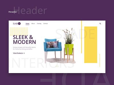 Slade Template minimal product page landing interior furniture clean website homepage webdesign ux ui