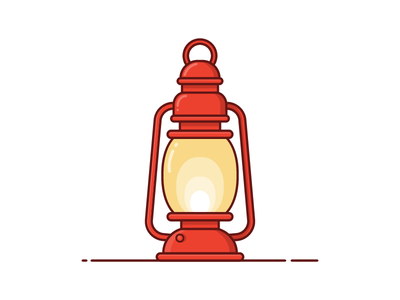 Lantern pulb light iconography outline vector illustration icon lantern
