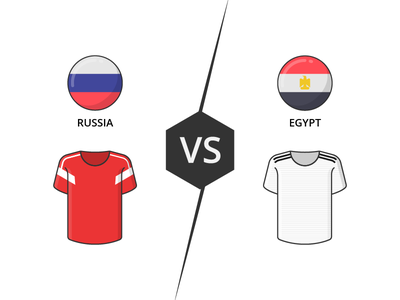 Russia vs Egypt team flag jersey match worldcup soccer football icon illustration vector outline iconography