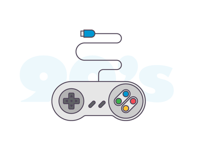 Gamepad videogame nineties nintendo gamepad icon illustration vector outline iconography