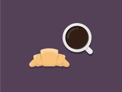 Coffe and croissant bakery breakfast croissant coffee icon illustration vector flat iconography