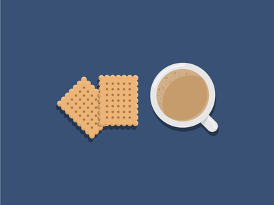 Tea with milk and biscuits cup break breakfast biscuits milk tea icon illustration vector flat iconography