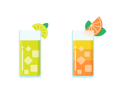 Fresh juice fruit fresh summer lemonade lemon orange juice icon illustration vector flat iconography