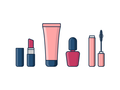 Makeup beauty mascara cream lipstick nail cosmetics makeup illustration vector outline icons