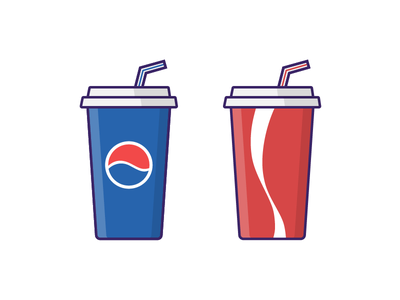 Pepsi vs Coke soda softdrink cocacola pepsi iconography outline vector illustration icon