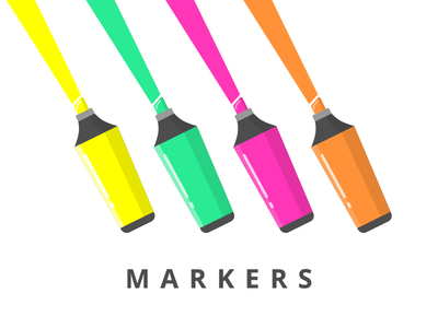 Markers bright colors pens stationery markers icon illustration vector flat iconography