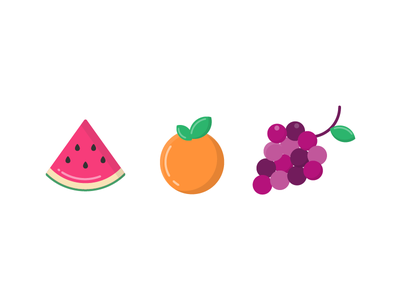 Fruits summer grapes orange watermelon fruit icon illustration vector flat iconography