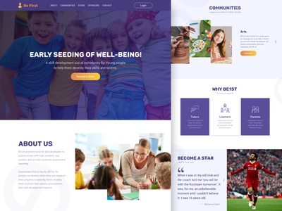Be 1st training homepage courses skills landing page website design education