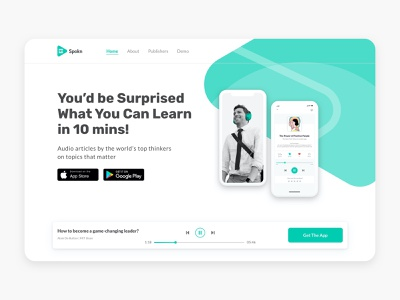 Spokn landing page web app art direction branding ux ui web design website