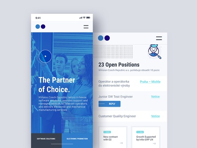 Vision - Responsive view/prototype work positions job app mobile vision ui prototyping landing business dots blue