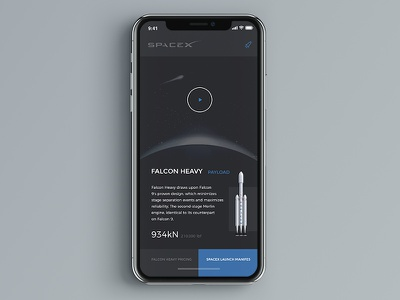 FALCON HEAVY UX Concept black ui ux mobile app heavy falcon spacex