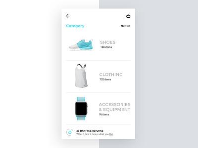 New Barcé concept Category shoes category women ui shop prototyping navi mobile fashion clean app