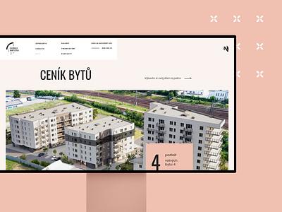 Harfistka - apartments vizualization pink site developer building estate real web prototyping
