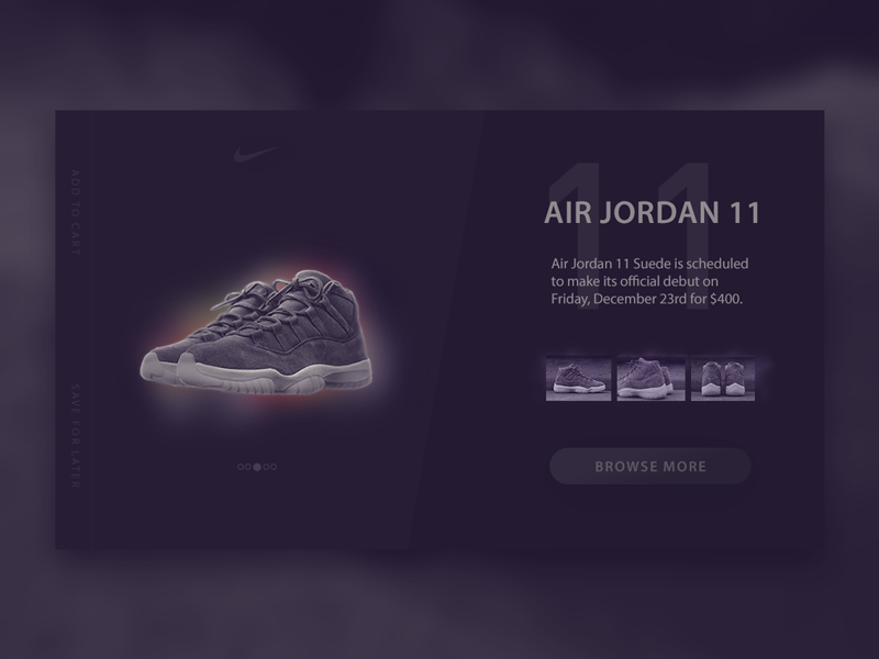 Air Jordan 11 — Shop Card Interface nike store nike webdesign web ux uidesign ui shopping page product design clean