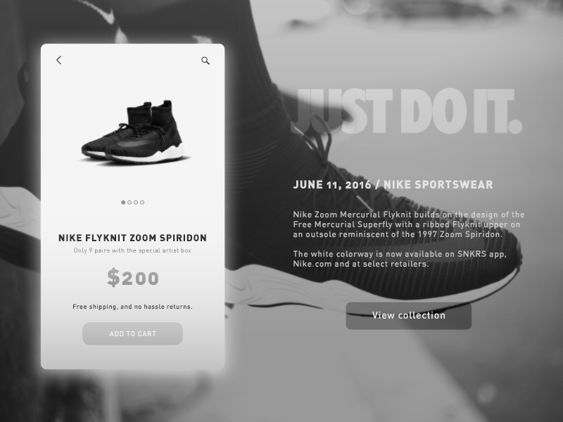 Nike ─ Product Page website product page store nike modern concept ui design