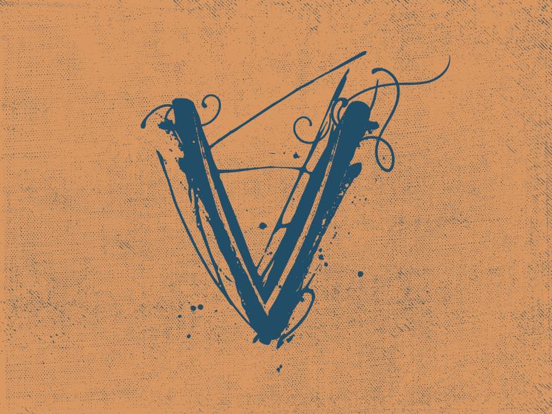 V Typehue illustration v letter script typehue