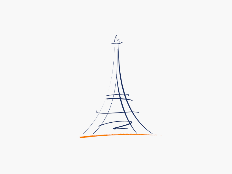 Playing with strokes eiffel tower illustration strokes