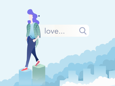 Search the love above the clouds search love illustration