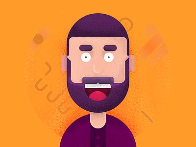 Fraom Avatar face flat grain illustration avatar